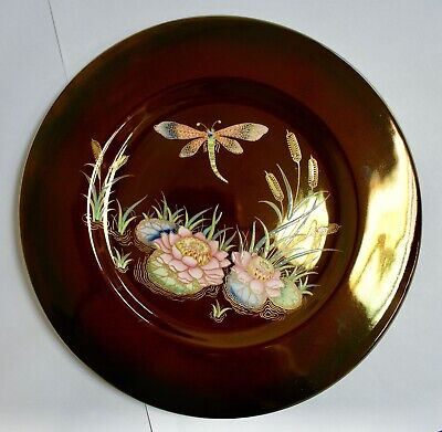 Carlton Ware Lustre Rouge Royale Plate, Dragonfly & Water Lilies 10.75  • 28£