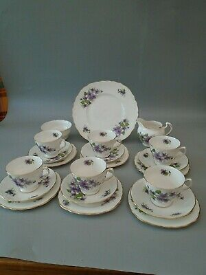 1960's ROYAL VALE  VIOLETS 21 PIECE BONE CHINA TEA  SET • 69.99£