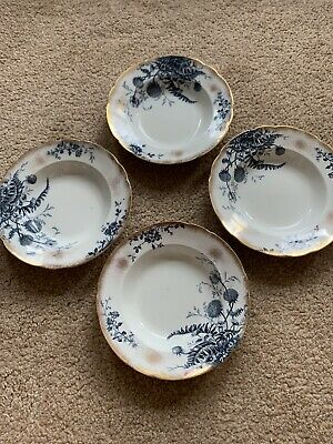 4 Glen HANCOCK & SONS China SOUP BOWL Blue And White Gold Rim 10-1/4  • 10£
