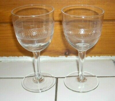 2 Small Antique Edwardian Etched Pall Mall Concentric Circles Glasses C 1900 • 2.20£
