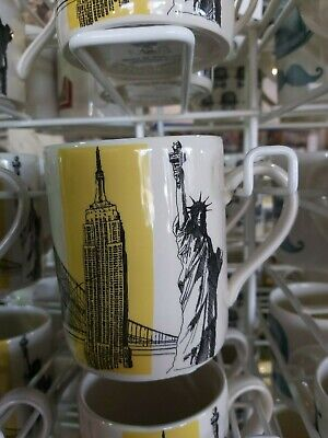 POOLE POTTERY CITIES IN SKETCH NEW YORK TALL MUG 1/2 PINT YELLOW Plus M And S • 9.99£