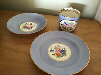 A Coffee Cup, Saucer And Plate By Royal Crown Derby Hand Painted And Signed • 50£