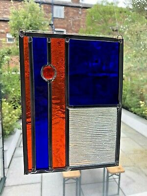 Stained Glass Panel, Abstract / Geometric Suncatcher, Handmade In England • 22.85£