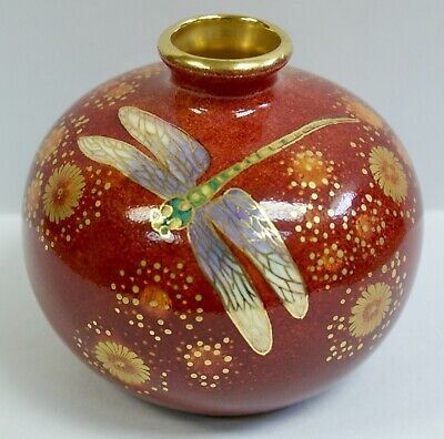 Stunning Marie Graves Hand Painted, Gilded  Dragonflies  Vase, Unique 1/1 • 175£
