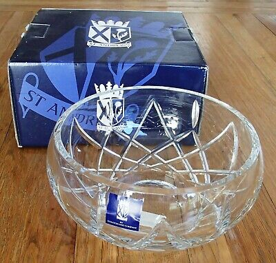 Unused St Andrews Boxed 7  Fine Heavy Lead Crystal Glass Bowl Fruit Trifle   • 12.99£