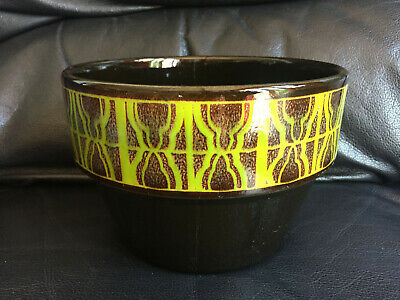 Retro Poole England Brown Green Pattern Planter 74 • 10£