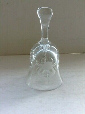 Vintage Cut Glass Small Crystal Bell With  Cancer  Motif • 6.99£