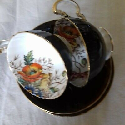 Aynsley Vintage China Cup And Saucer X 2 In Black With Gold Rim • 11.22£