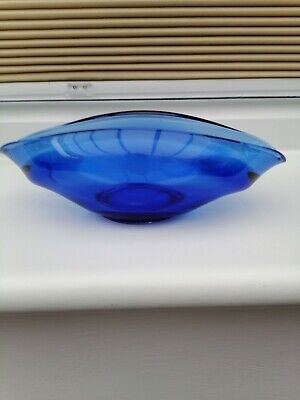 Small Art Glass  Vase. Blue See Pic  • 1.30£