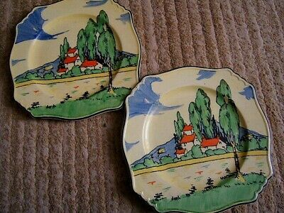 Two Art Deco Red Roof Design Plates (Royal Winton) • 22£
