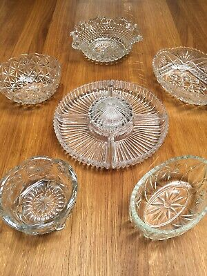 Collection Of Vintage Cut Glass Serving Dishes • 8£