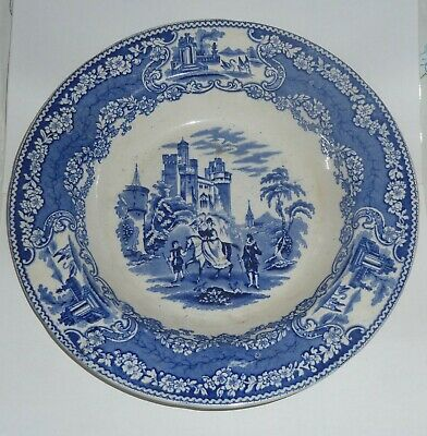 Scottish Pottery Blue And White Plate J&MP Bell Glasgow Hawking Pattern • 9.99£