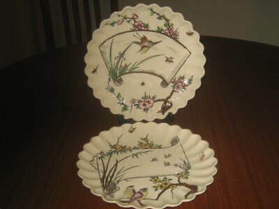 Two Antique Copeland Aesthetic  Birds & Floral Fluted Plates Circa 1850 • 29.99£