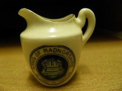 Crested Souvenir Small Jug Arms Of Radnorshire The Coronet Ware Made In England • 3£