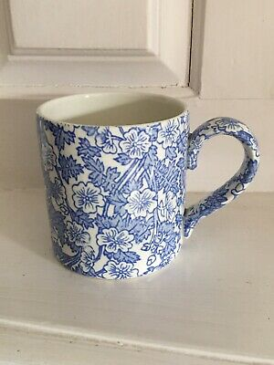 Lovely Blue White Floral Burgess & Leigh Burleigh Ware Chinz Cup Mug • 12.50£