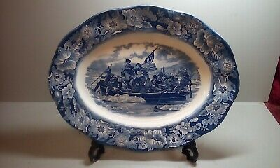 Vintage Meat Plate Blue An White Washington Crossing The Delaware  • 6.99£