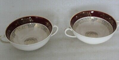 Two John Maddock & Sons Burgundy & Gilt Twin Handle Soup Bowls • 3.99£