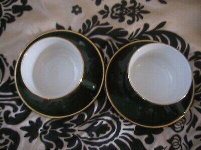 Apilco Green & Gold Bistro Ware Large 10cm Breakfast Cups & Saucers X 2  • 18.95£
