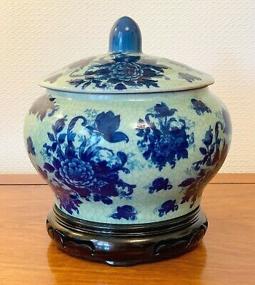 Vintage Large Blue And White Crackle Victoria Pot Tureen Ironstone 9 Ins Tall • 25.99£
