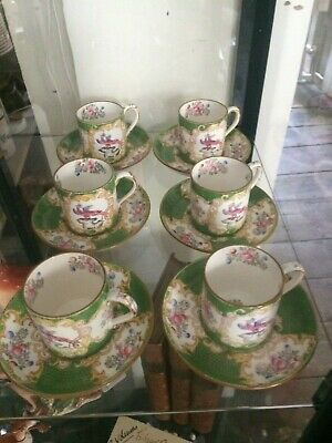 Minton Cockatrice Pattern Set Of Six Demi-tasse Coffee Cans And Saucers • 30£