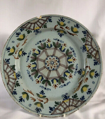 A Pair Of English Delft (Probably Lambeth) C.1750 Plates-Ann Gomme Pattern • 99£