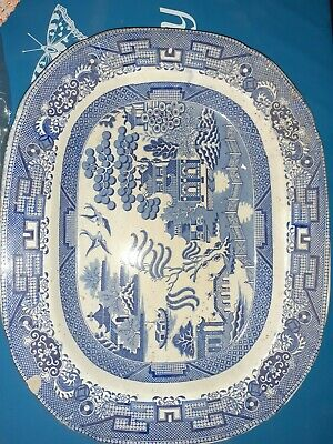 Davenport Large Blue And White Meat Plate • 10£