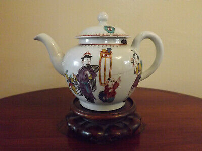 18th Century Small Worcester Style Pattern Cannonball Shape Teapot A/F Pinned  • 50£