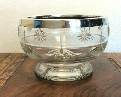 Antique Cut Glass Tea Caddy Mixing Bowl Sterling Silver Rim 1926 • 24.99£