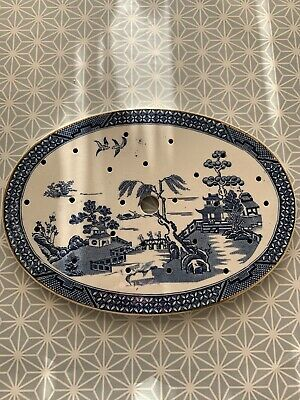 Antique Willow Pattern Trivet Porcelain China Unmarked Blue And White Rare • 3.50£