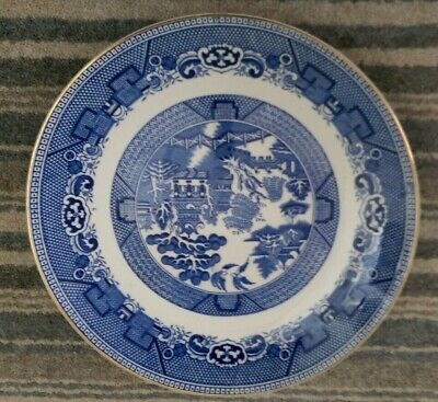 """ARKLOW Pottery : WILLOW Pattern : Gold Rimmed  Plate 9"""" • 4.99£"""
