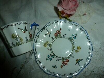 Collingwood Vintage Hand Painted Cup And Saucer Blue Birds • 15£