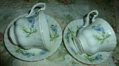 Richmond Vintage China Tea Cups And Saucers Blue Poppy Design • 12.99£