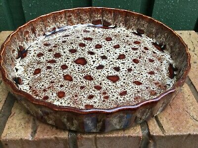 Fosters Of Cornwall 1960s/70s Vintage Brown Honeycomb Drip Glaze Pottery • 20£