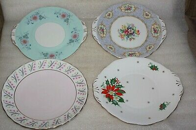 4 Vintage Pretty China Sandwich Plates Various Makers And Patterns • 7.50£