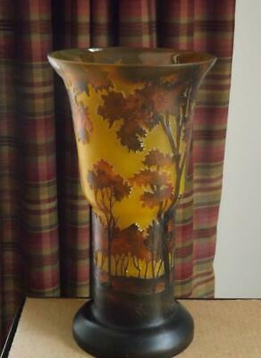 Tozai Galle Vase Forest Trees Raised Relief Orange & Brown Colors 12 H • 143.54£
