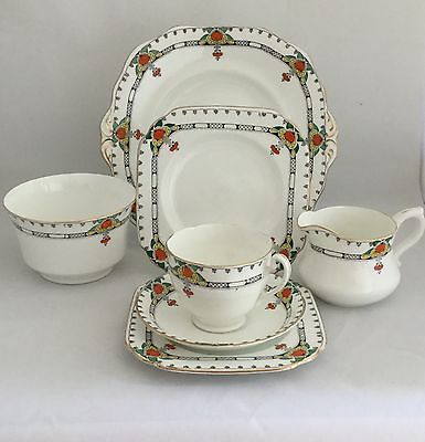 Vintage Old Royal Bone China Tea Set - Trio, Cake Plate, Sugar Bowl & Milk Jug • 24.95£