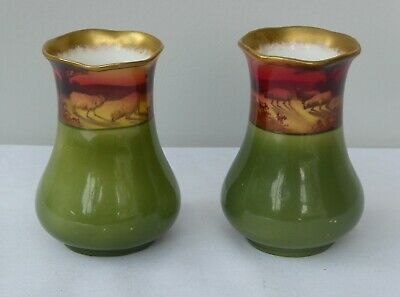 Pair Of Royal Doulton Miniature Vases Handed Painted By W. Hodkinson C1905 • 159£