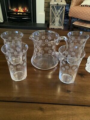 Vintage Clear Etched Glass Water/Lemonade Set  Snowflakes 5 Pieces • 28£