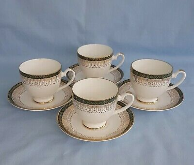 4 Royal Grafton Majestic Green Bone China Coffee Cups & Saucers Duos • 16.95£