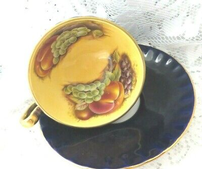 VINTAGE AYNSLEY ORCHARD GOLD COBALT BLUE TEA CUP & SAUCER - Lovely Condition  • 32£