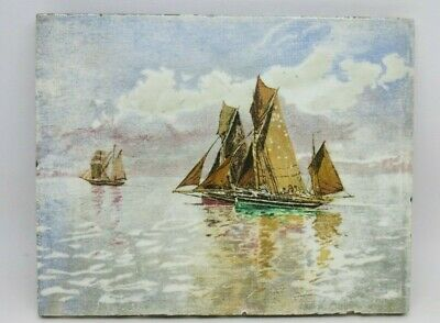 Vintage Minton Tile SAILING SHIPS. In Very Good Condition. • 55£