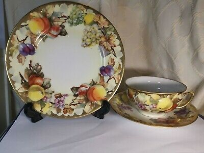 Vintage German Friedrich Kaestner Trio Cup Saucer Plate With Fruits And Gold • 19.99£