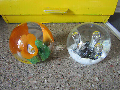 2 Glass Paper Weights One Marked Paul Miller • 11.95£