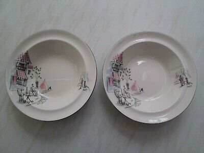 Alfred Meakin Soup Or Dessert Bowls In The Montmartre / Paris Cafe Design X 2 • 14.50£