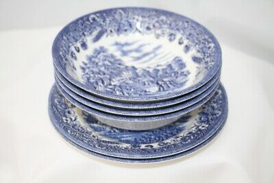 Churchill England Blue & White Four Dessert Bowls Two Side Plates • 4.99£