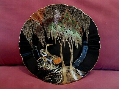 Stunning Rare Hand Painted Noire Royale Carlton Ware Cabinet Plate Stork Design • 24.55£