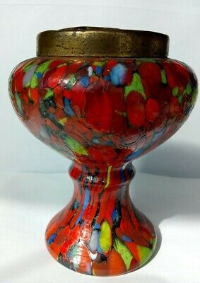Vintage Glass  End Of Day  Dribbled Multi Coloured Vase With Metal Frog. H 6  • 5.49£
