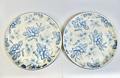 Pair Vintage Biltons Pottery Dinner Plates, Floral Blue & White  Chintz  9.5  • 15£