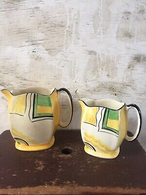 Two Graduated Art Deco Jugs Possibly Susie Cooper / Grays Pottery • 35£