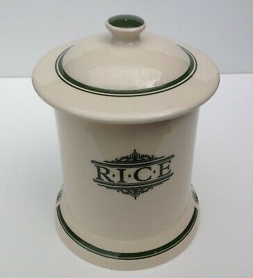 1869 Victorian Pottery Rice Storage Jar With Green Script • 20£
